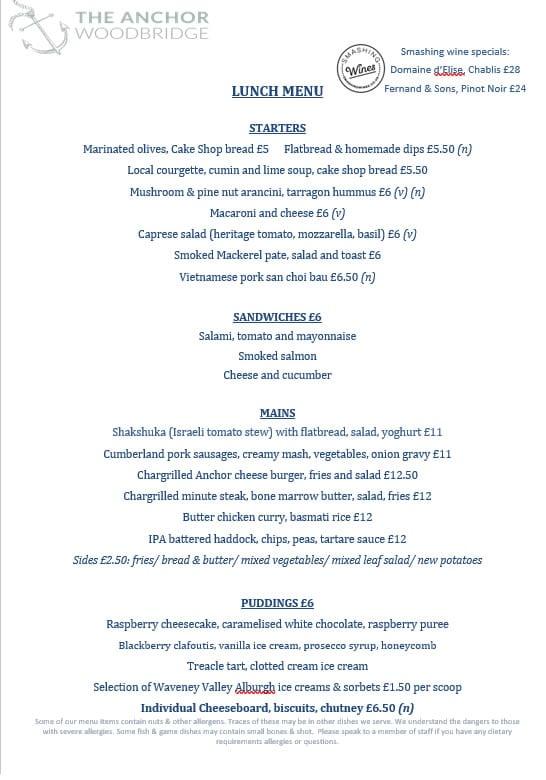 Lunch menu at The Anchor Woodbridge, Suffolk
